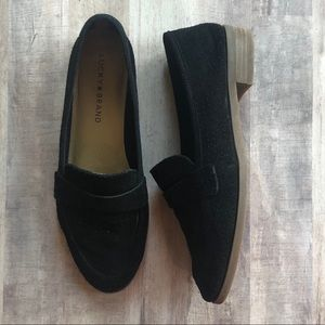 Lucky Brand Black Perforated Caviep Loafers